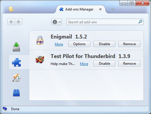 Add-ons Manager - Mozilla Thunderbird