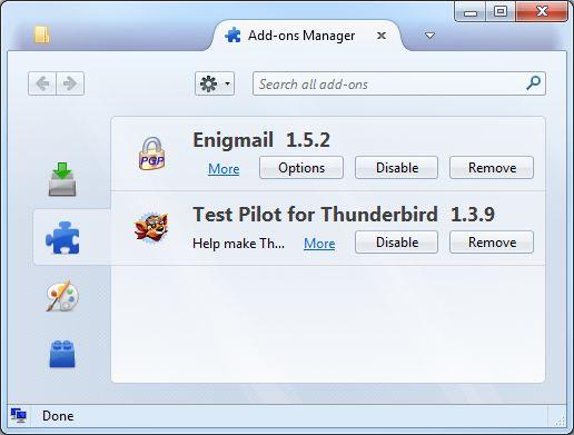 Add-ons Manager - Mozilla Thunderbird