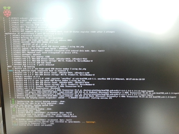 Typical Raspbian bootup messages
